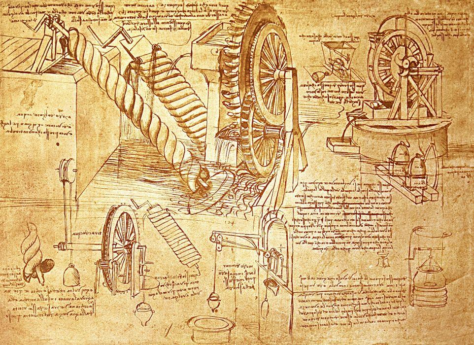 Leonardo da Vinci en sus cuadernos de notas da cuenta de sus estudios previos -proceso de diseño- para la creación de sus inventos.